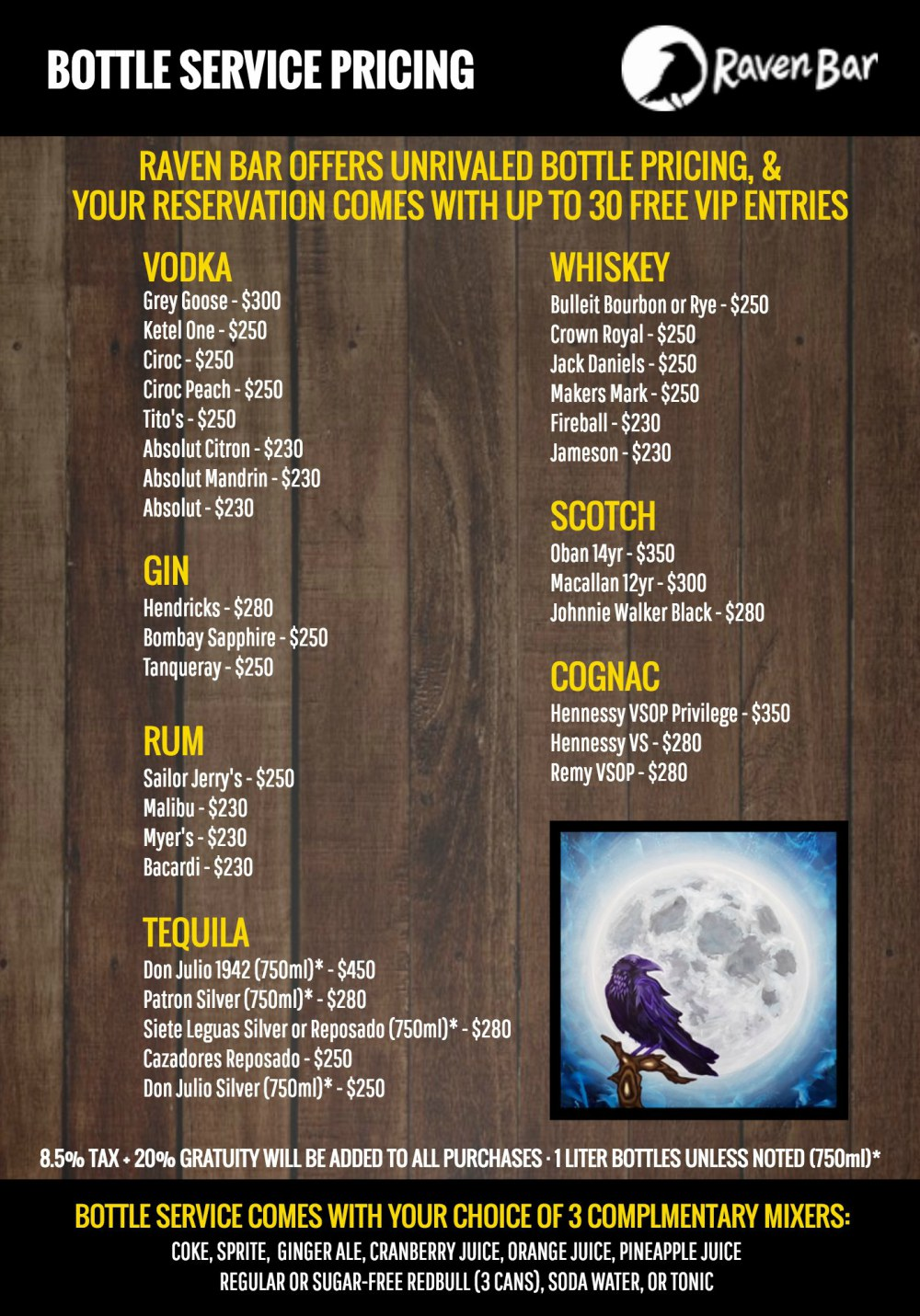 Raven's Bottle Service Menu - Right Click and click Save Image As To Save